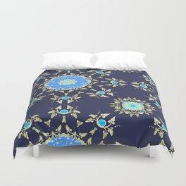 Golden and blue pattern Duvet Cover