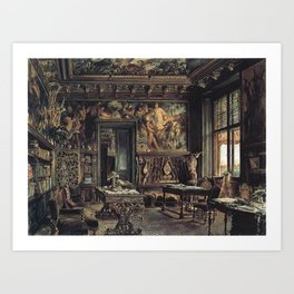 The Library In The Palais Dumba 1877 by Rudolf von Alt   Reproduction Art Print