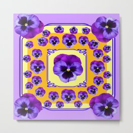 SPRING  PURPLE PANSY FLOWERS YELLOW GARDEN ART Metal Print