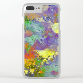 Signs Of Life - Vibrant, random paint splatter multi coloured abstract Clear iPhone Case
