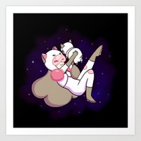 puppycat Art Prints featuring Bee and Puppycat by attercopter
