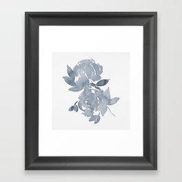 Blue Peonies watercolor Framed Art Print