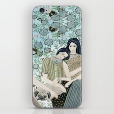 Girls With Pugs Among Roses iPhone Skin
