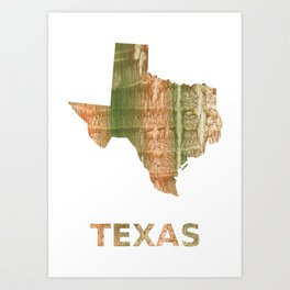 Texas map outline Brown green blurred watercolor texture Art Print