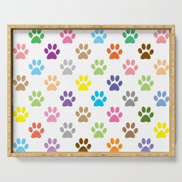 Colorful puppy paw prints pattern Serving Tray