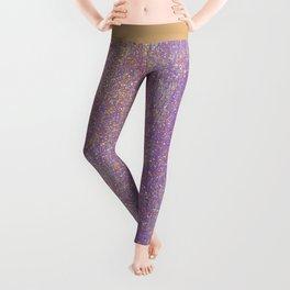 Elegant purple lavender faux gold glitter Leggings