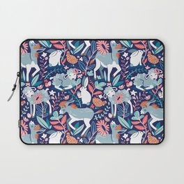 Spring Joy // navy blue background pale blue lambs and donkeys coral and teal garden Laptop Sleeve