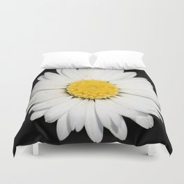 Top View of a White Daisy Isolated on Black Duvet Cover