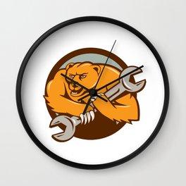 Grizzly Bear Mechanic Spanner Circle Cartoon  Wall Clock
