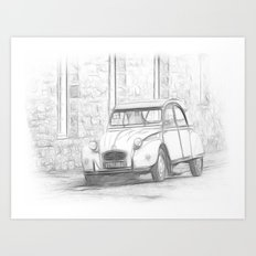 Citroen 2 CV - Deux Chevaux Art Print