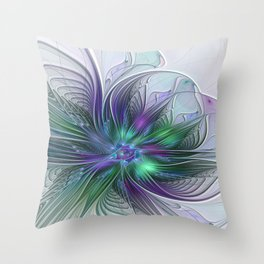 Floral Energy Colorful Abstract Fractal Art Flower Throw Pillow