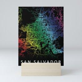 San Salvador, El Salvador, City, Map, Rainbow, Map, Art, Print Mini Art Print