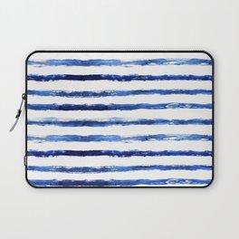 Blue grungy stripes Laptop Sleeve
