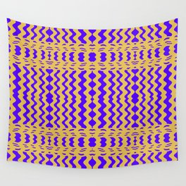 Bright Purple Yellow Wavy Lines Wall Tapestry