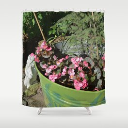 Sun kissed Garden Angel and Begonias Shower Curtain