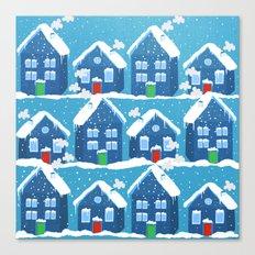Winter In The Village Canvas Print