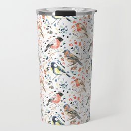Watercour Painted British Birds Travel Mug