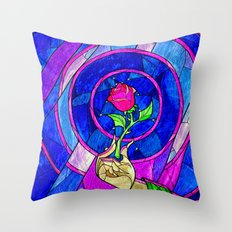 Beauty And The Beast Red Rose Flower Throw Pillow
