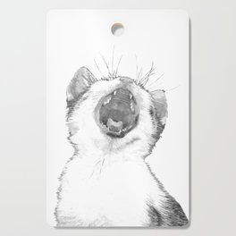 Black and White Sleepy Kitten Cutting Board