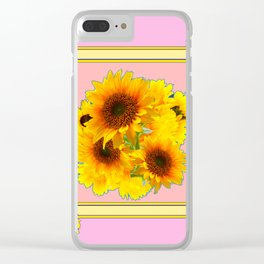 YELLOW SUNFLOWER BOUQUETS ON PINK Clear iPhone Case
