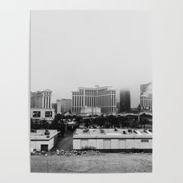 Back Side of the Bellagio // Las Vegas Strip City Landscape Cloudy Snow Day Foggy Raw Photograph Poster
