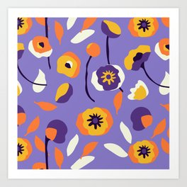 Abstract Dancing Poppies Art Print