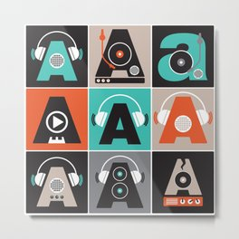 Audio vintage music typography illustration Metal Print