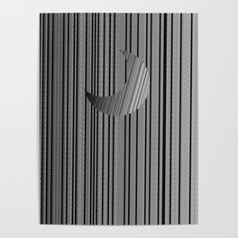 Sleek Gray Toned Stripes and Silvery Moon Poster