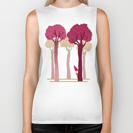 colorful forest with cute dwarf Biker Tank