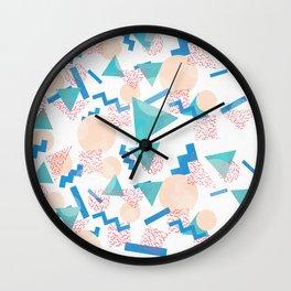 90's Pastel Geometric Pattern Wall Clock