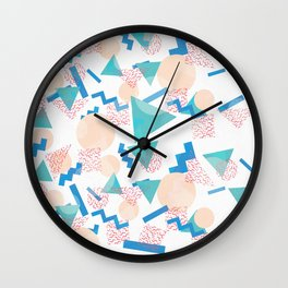 90's Pastel Geometric Pattern Wall Clock