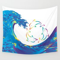 hokusai Wall Tapestries featuring Hokusai Rainbow & rotating dolphins_D by FACTORIE