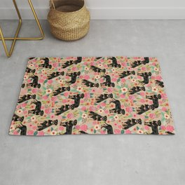 Rottweiler florals cute dog pattern pet friendly dog lover gifts for all dog breeds Rug