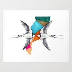 Swallows, geometric drawing Art Print