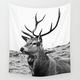 The Stag on the hill - b/w Wall Tapestry
