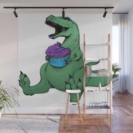 Dino Eats a Cupcake Wall Mural