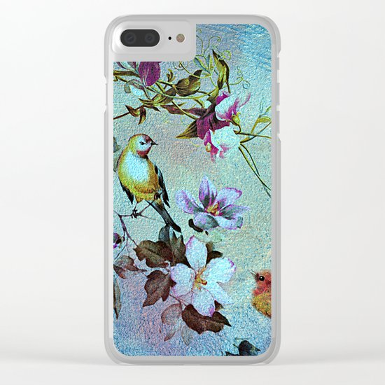 Oriental blossoms and birds Clear iPhone Case
