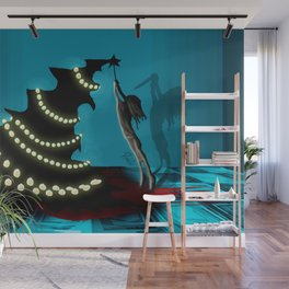 BLACK XMAS: Decorating the Christmas Tree Wall Mural