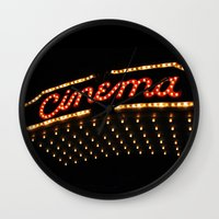 cinema Wall Clocks featuring Cinema by Kathleen Casey
