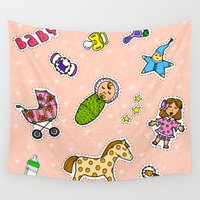 stickers Wall Tapestries featuring For Mommy stickers by Lisidza's art