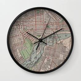 Vintage Map of Richmond VA (1914) Wall Clock