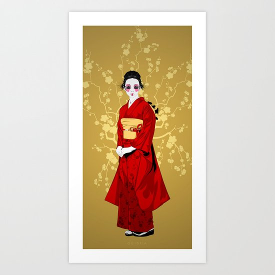 Geisha R Art Print