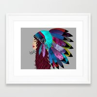 native american Framed Art Prints featuring native american  by Lunah