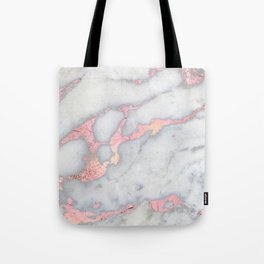 Rosegold Pink on Gray Marble Metallic Foil Style Tote Bag