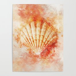 Tropical Ocean Sea Shell Watercolor Painting Poster