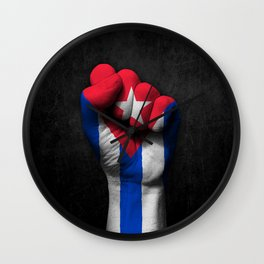 Cuban Flag on a Raised Clenched Fist Wall Clock