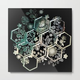 Black Hexagon Metal Print