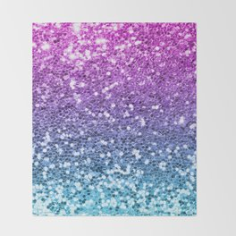 Bright Blue Purple Glitters Sparkling Pretty Chic Bling Background Throw Blanket