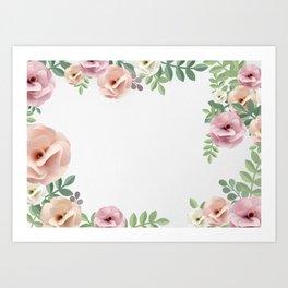 Pink Floral Watercolor Design Art Print