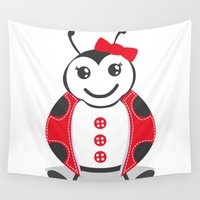 ladybug Wall Tapestries featuring LadyBug by Alìta Design